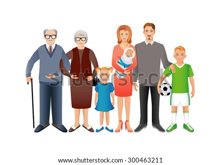 Big happy family. Father, mother, son, daughter, grandfather, grandmother, baby. Generation. Realistic images isolated on white background. - stock vector