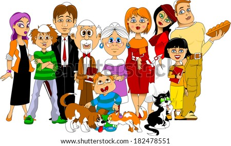 Big happy family gathered together to meet the  - stock vector