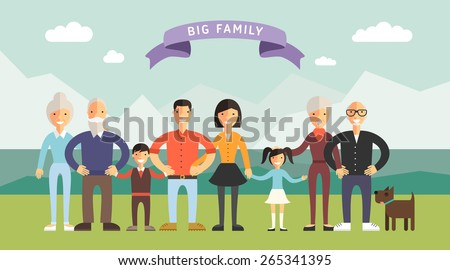 Big Happy Family. Parents with Children. Father, mother, children, grandpa, grandma - stock vector