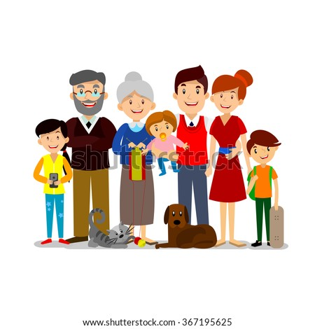 Big Happy Family. Parents with Children. Father, mother, children, grandpa, grandma, dog and cat. - stock vector