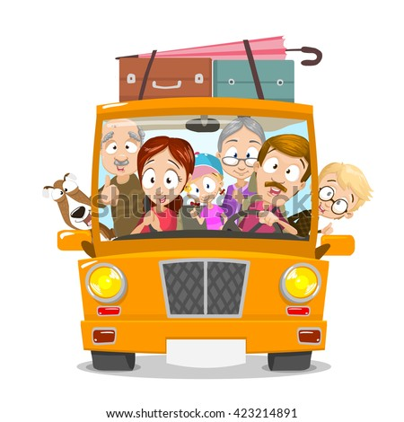Big happy family traveling by car. Family going to summer vacations. Summer holiday. Tourism and vacation theme. Flat design vector illustration. - stock vector