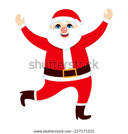 Big happy fat Santa Claus jumping and dancing on Christmas day