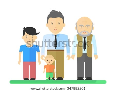 Big happy harmonious family.Father, son, grandson, grandfather Objects isolated on a white background. Flat vector illustration. - stock vector