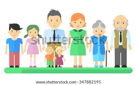 Big happy harmonious family. Objects isolated on a white background. Flat vector illustration. - stock vector