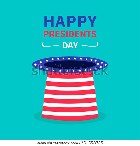 Big hat with stars and strip. Presidents Day background flat design - stock vector