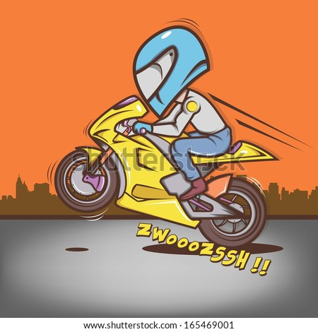 Big Head Ride Wheelie - stock vector
