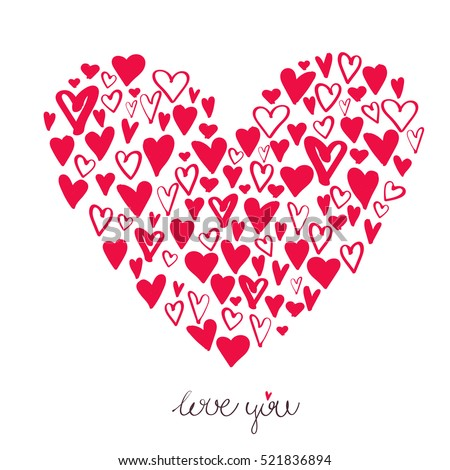 big heart made small hearts valentines stock vector 521836894 rh shutterstock com heart made of kisses text heart made out of text symbols