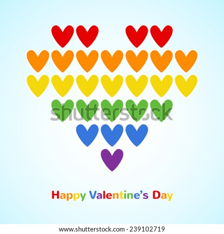 Big heart made of rainbow flag colors hearts. Happy Valentines Day card with greetings. - stock vector