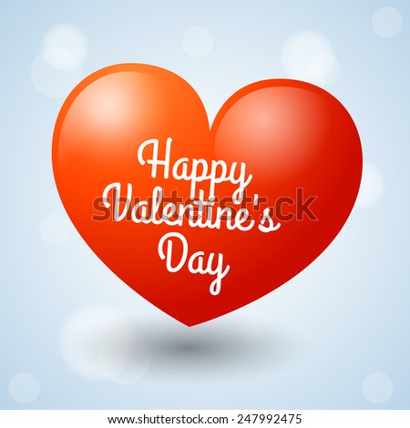 Big heart with inscription Happy Valentine's Day - stock vector