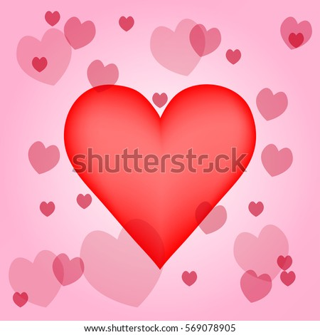 Big Hearth Around With Opacity Hearth In Many Size. Valentine Day Repeating  A Hearth In