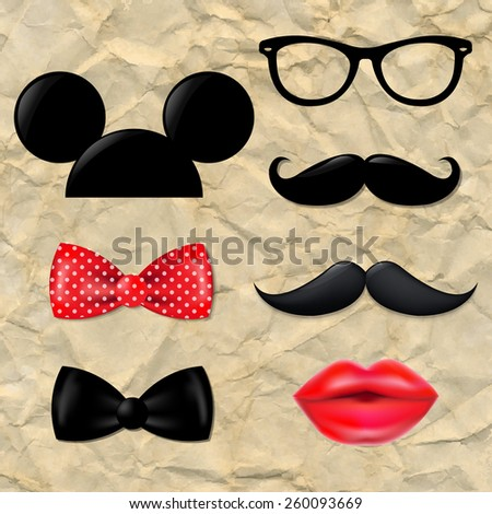 Big Hipster Set With Gradient Mesh, Vector Illustration - stock vector