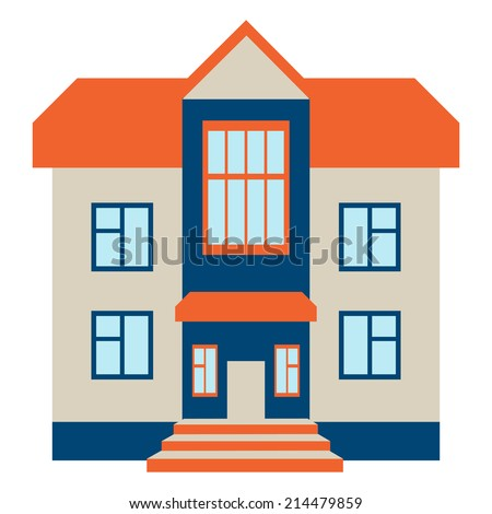 Big House. Isolated on White Background. Vector Illustration - stock vector