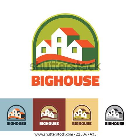Big house - vector logo concept illustration. Real estate logo. Vector logo template. Different colors variations. Greenhouse logo concept. - stock vector