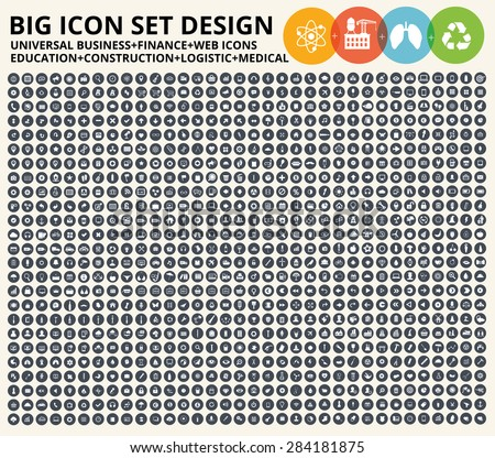 Big icon set,Business,financial,universal website,construction,heavy industry,medical,healthy care,education and ecology,nature icons,clean vector - stock vector