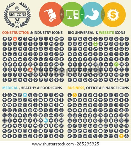 Big icon set,Industry,Construction,Medical,Logistic,Finance and business icon set,clean vector - stock vector