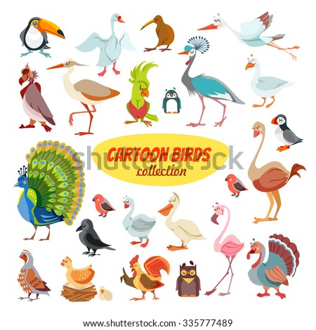 Big icon set of cute cartoon birds from around the world.Vector illustration isolated on white background - stock vector