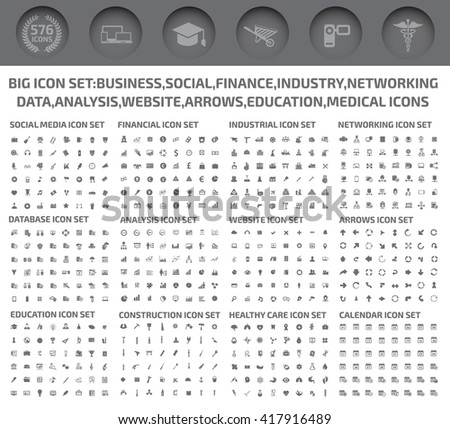 Big icons,Business,Social,Finance,Industry,Networking,Data analysis,Website,Arrow,Education,Medical icons,vector - stock vector