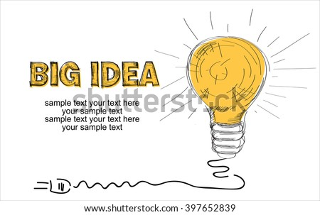 Big Idea Concept Background made with hand drawn sketches - stock vector