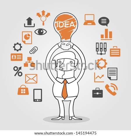 Big idea concept. Illustration of light bulb hovering over business man's head. - stock vector