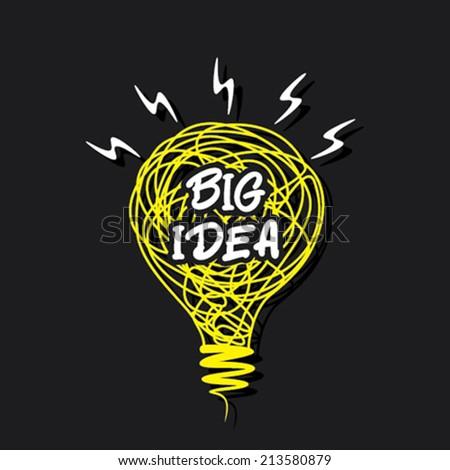 big idea concept or word on sketch bulb design vector - stock vector