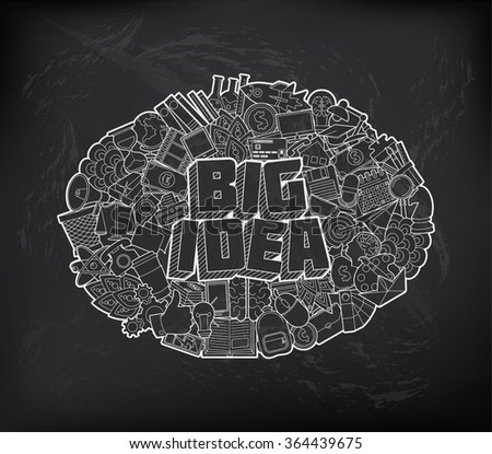 Big Idea - Hand Lettering and Doodles Elements Sketch on Chalkboard Background. 