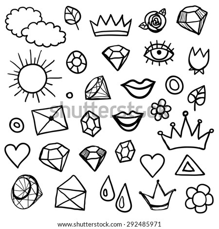 Big isolated black outline icon vector hipster set, doodle hand drawn modern summer fashion beauty elements collection - stock vector