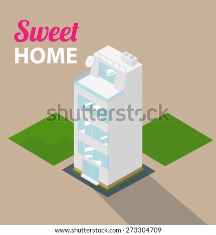Big isometric house with lawn. - stock vector