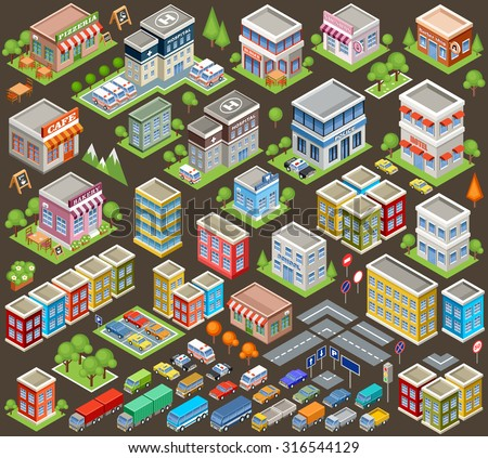 Big isometric set of buildings and houses. Infrastructure. Road and cars. Vector illustration - stock vector