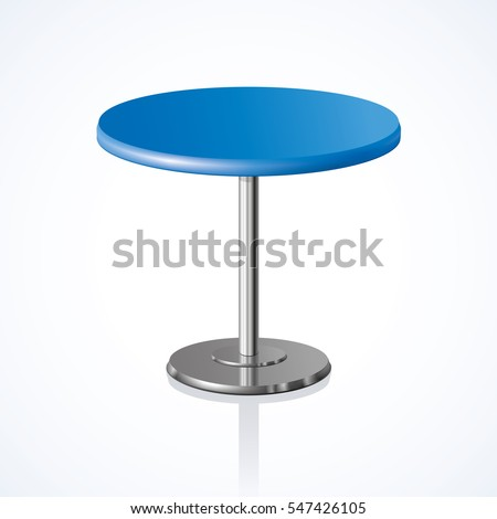 Big lap disk shape vivid indigo color stylish 3d board platen stand on one solid shiny stem foot on white backdrop. Club concept design object. Close-up side view with space for text