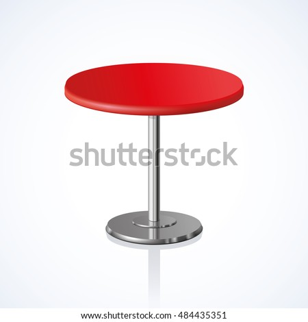 Big lap disk shape vivid scarlet stylish 3d board platen pedestal stand on one solid shiny stem foot on white backdrop. Club concept design object. Close-up side view with space for text