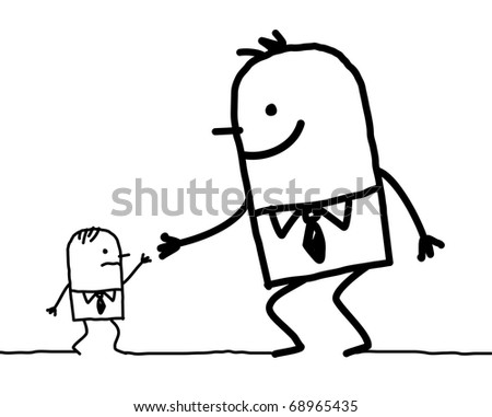 big man giving help to small one - stock vector