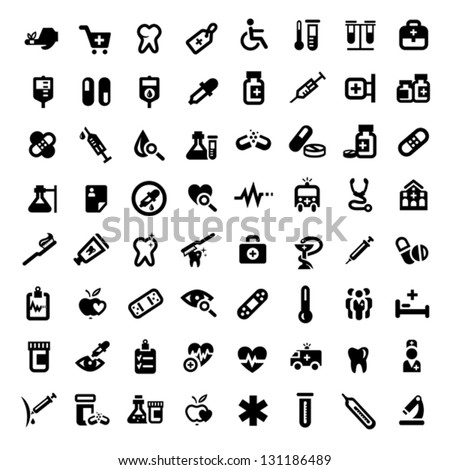 Big Medical And Health Icons Set Created For Mobile, Web And Applications. - stock vector