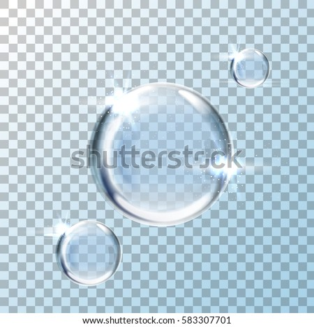 big, medium and small water bubble elements, transparent background, 3d illustration