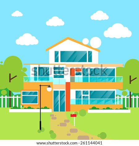 Modern villa stock vectors vector clip art shutterstock for Modern house clipart