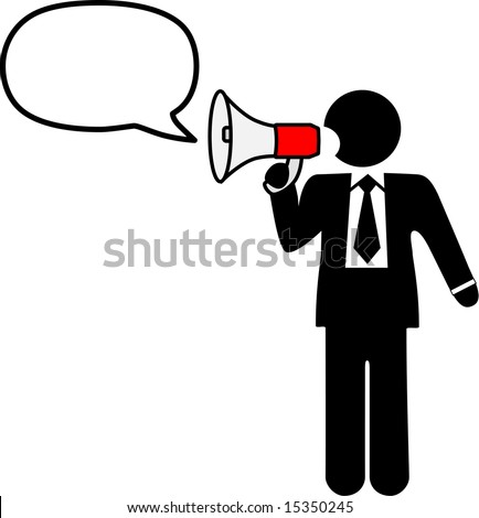 Big mouth business symbol man to broadcast a talk, ad, announcement, communication in a bullhorn & speech balloon.