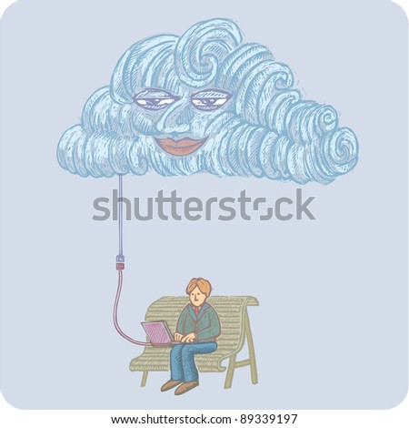 Big network cloud over a man working on a laptop sitting on a bench. Internet cloud networking concept!