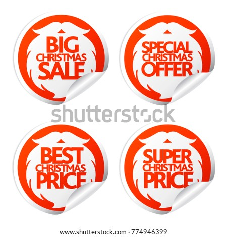 Big New Year sale stickers with Santa Claus beard.Vector illustration