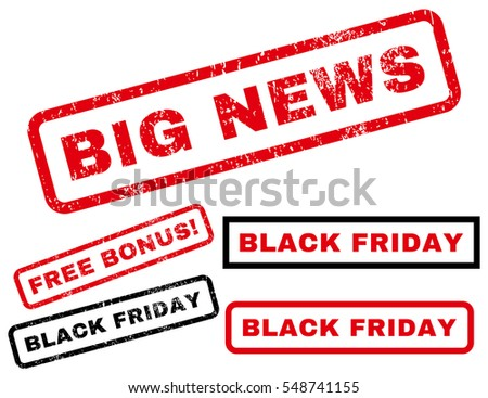 Big News rubber seal stamp watermark with additional images for Black Friday sales. Vector red and black emblems. Caption inside rectangular shape with grunge design and scratched texture.