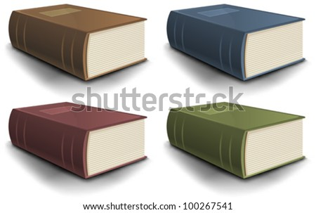 Big Old Science Book Set/ Illustration of a collection of old science or holy bible books - stock vector