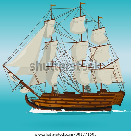 Big old wooden historical sailing boat on blue sea. Ship with sails, mast and guns. Nice illustration of galleon. Training corvette ship for pirates - flatten icon isolated illustration master vector. - stock vector