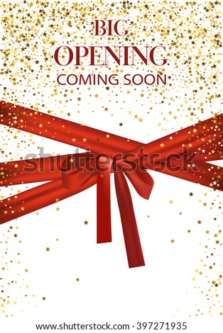Big opening coming soon vector illustration with gold star and red long ribbon - stock vector