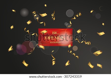 Big opening invitation card with gold confetti and ribbons - stock vector