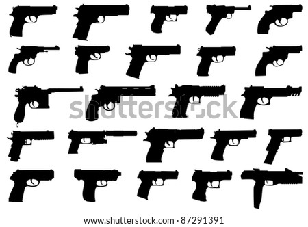 big pack firearms (pistols) - stock vector