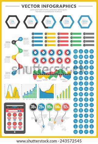 Big pack of data visualization vector infographics and design elements with business bar, charts, graph, diagrams and icon set for brochures, flyers and websites - stock vector