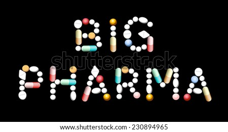 BIG PHARMA written with pills and capsules. Isolated vector illustration over black background. - stock vector