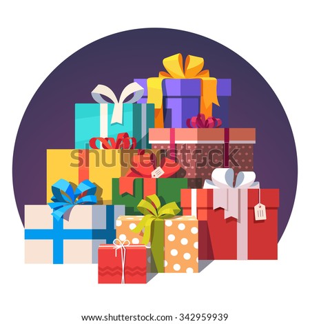 Big pile of colorful wrapped gift boxes. Lots of presents. Flat style vector illustration isolated on white background. - stock vector