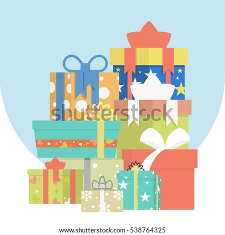 Big pile of colorful wrapped gift boxes. Lots of presents. Flat style vector illustration isolated on white background.Vector set of different gift boxes. Flat design.