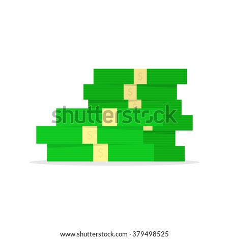 big pile of money like capital investment. concept of pay, fund, benefit, budget, trade, revenue proceeds, prize, debt, usd. flat style trend modern logo design vector illustration on white background - stock vector