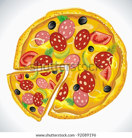 Big Pizza Bolognese isolated over white background. Abstract Elegance food background. - stock vector