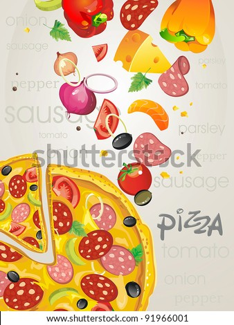 Big pizza with salami, paprika and olives. Abstract Elegance food background. - stock vector